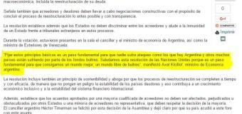 MUNDO – Economía | El sitio oficial de la ONU le da un importante espacio a la Argentina en la aprobación de los nueve puntos para renegociaciones de deudas soberanas.