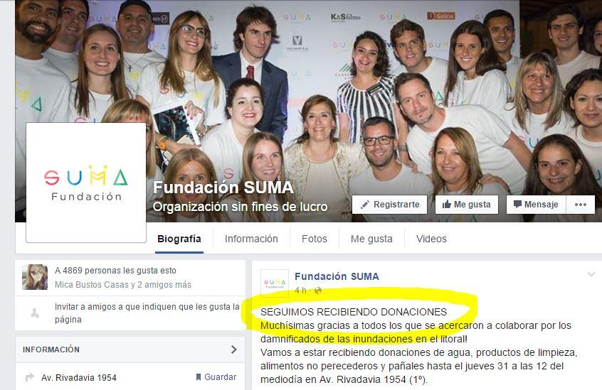 En la fan page de la Fundaciòn Suma en Facebook se pide colaboraciòn. La Vicepresidenta Michetti no puede mezclar su rol de Estado con su accionar privado.