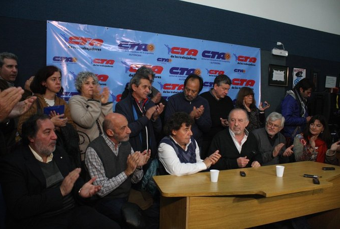 Pablo Micheli y Hugo Yasky siguen recogiendo adhesiones para la marcha del 2 de junio.