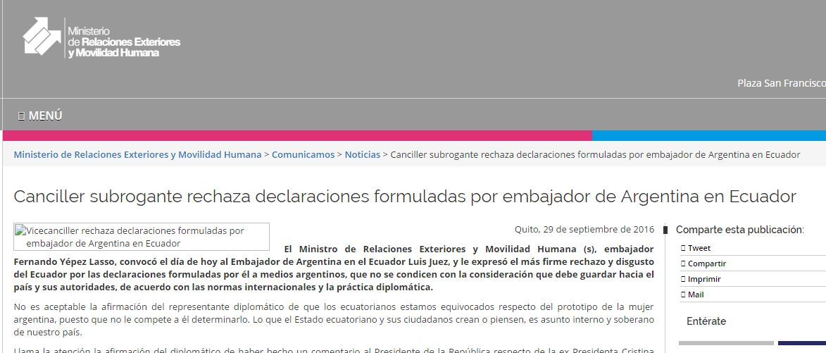 Comunicado del Ministerio de Relaciones Exteriores de Ecuador reprendiendo al Embajador macrista Luis Juez