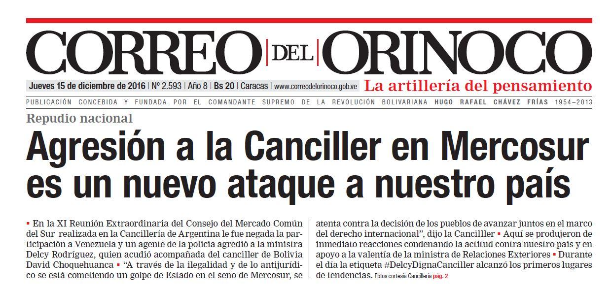 Titular del diario más importante de Venezuela.
