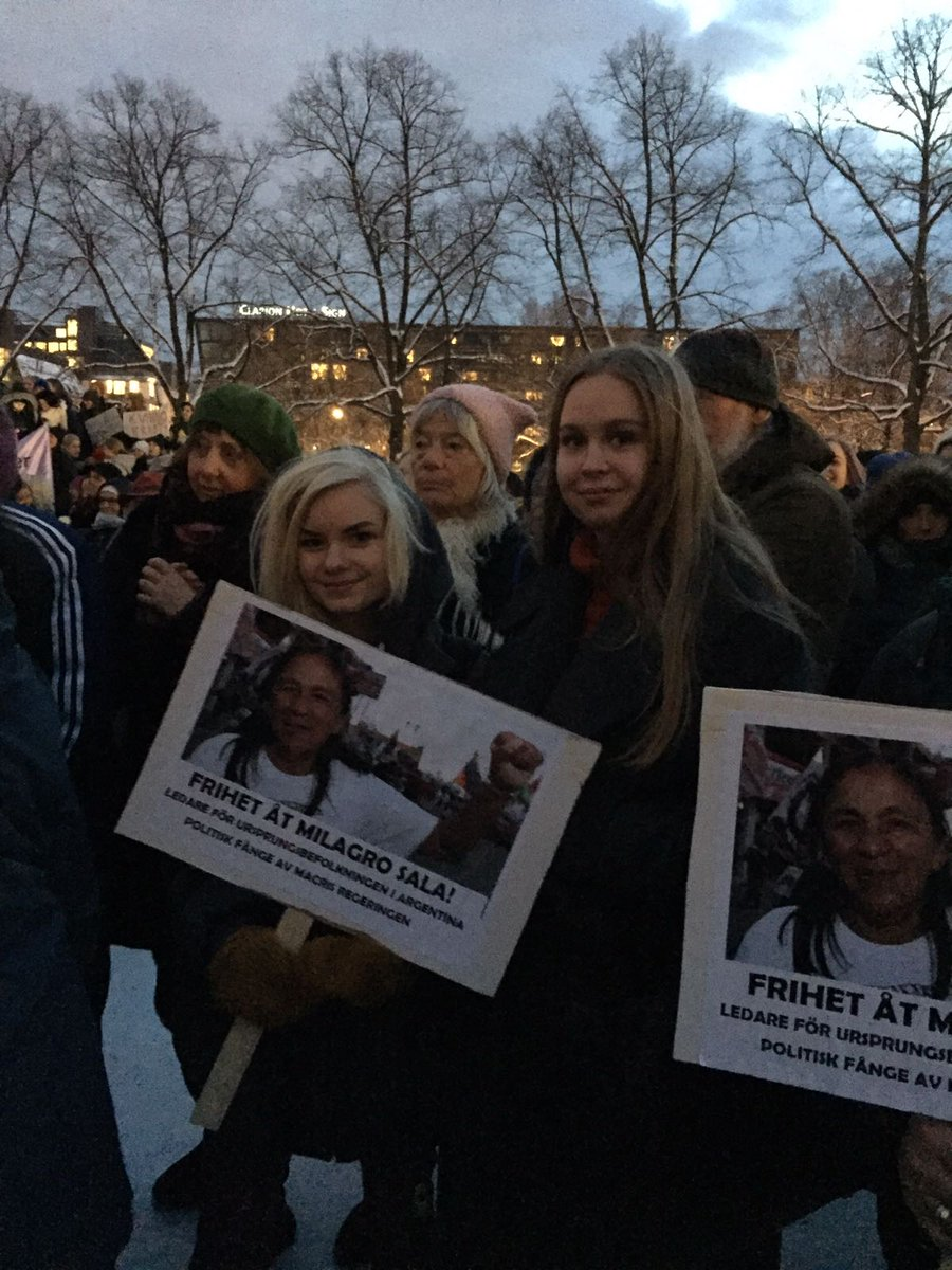 En el Día Internacional de la Mujer hasta en Suecia pidieron la libertad de Milagro Sala detenida por la dictadura de Jujuy.
