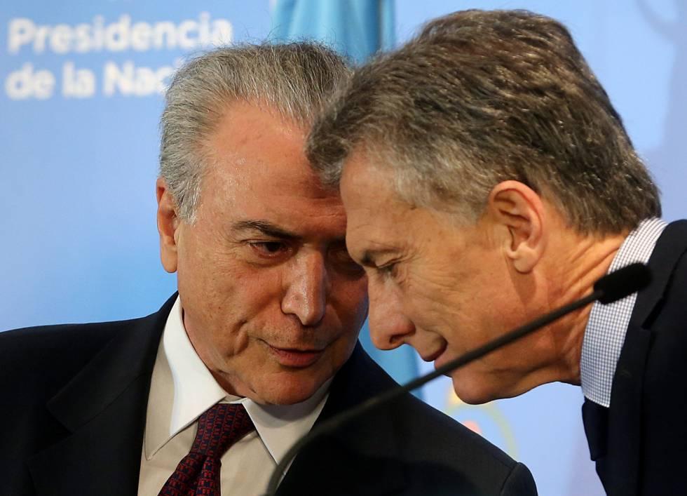 El Presidente golpìsta Temer de Brasil esconde las investigaciones sobre su amigo Mauricio Macri.