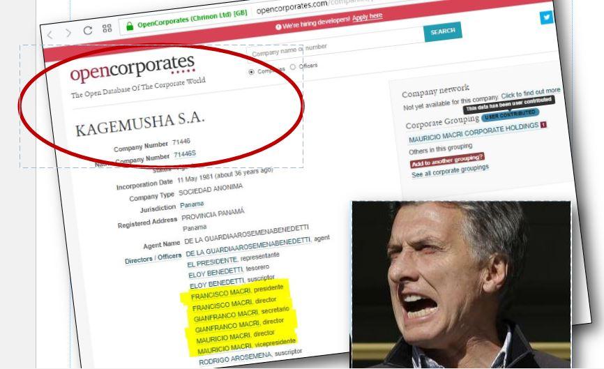 La base de datos OpenCorporates indica que la empresa que Macri usa para esconder su fortuna sigue activa.