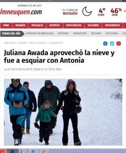 Con fuerte operativo de custodia Juliana Awada, pareja de Mauricio Macri tomó clases de esquí.
