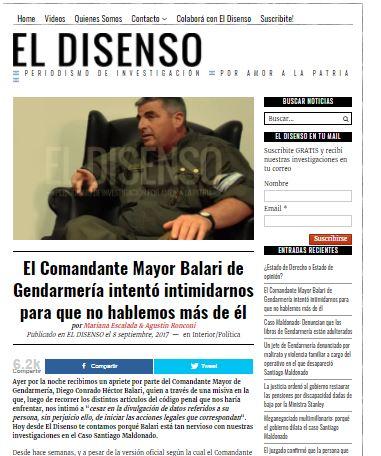 El sitio colega El Disenso fue amenazado por investigar la desaparición de Santiago Maldonado a manos del Gobierno.