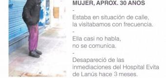 EXTRAVIADA – Buenos Aires | Una Fundación solidaria busca a una persona extraviada en Lanús.