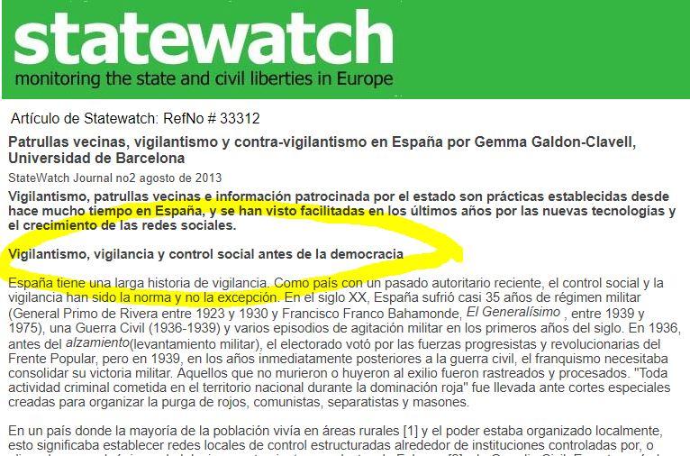 La organización Statewatch denunció el intento franquista para censurar la internet en Catalunya.