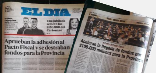 Los diarios oficialistas de la Capital de la Provincia de Buenos Aires admitieron que la plata de los jubilados va a los bolsillos de Vidal.