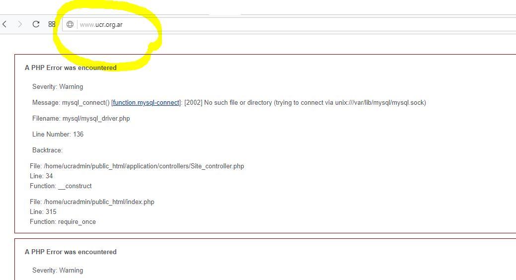 El sitio web de la UCR no funciona.