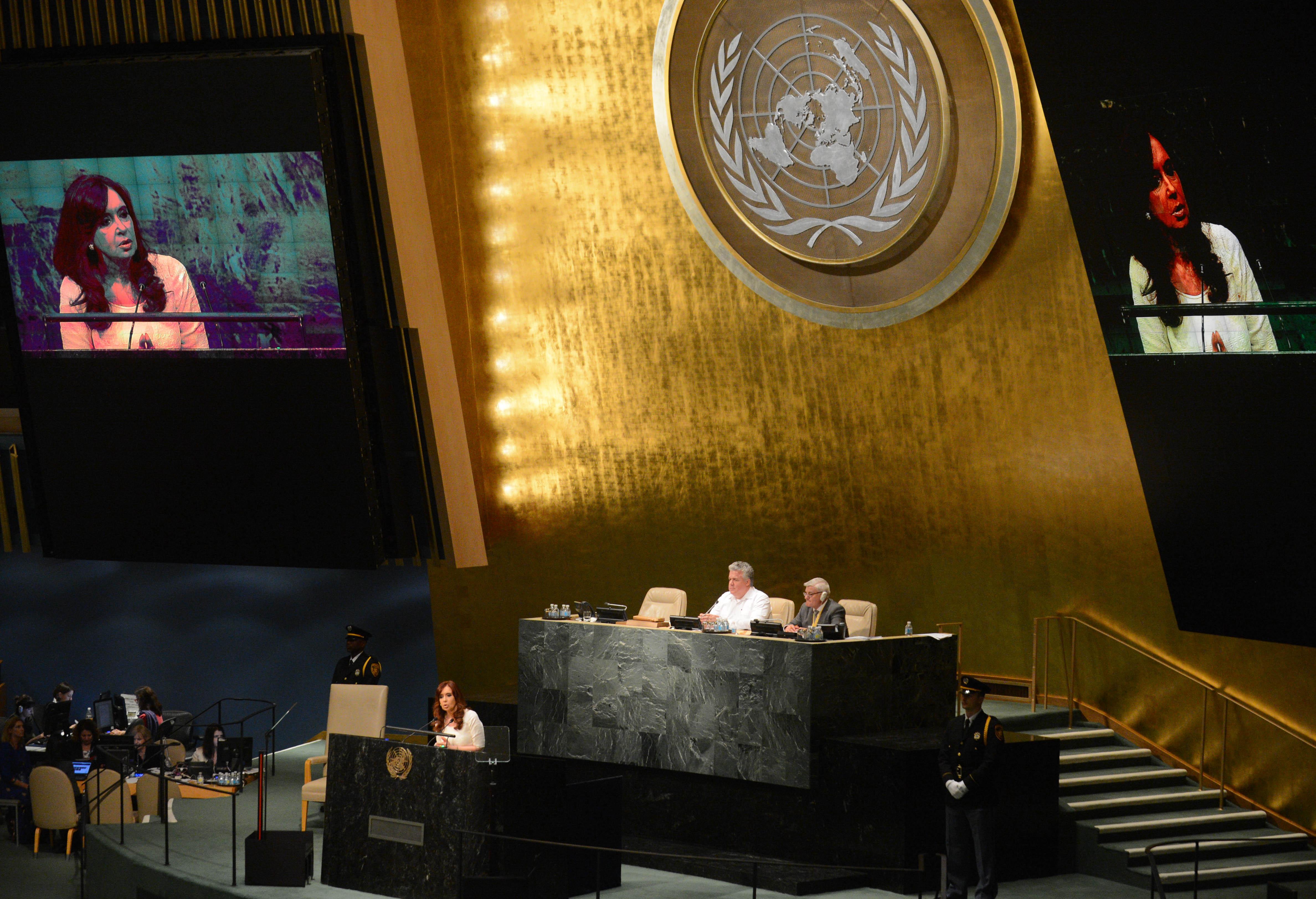 Cristina Fernández en la Asamblea de las Naciones Unidas.