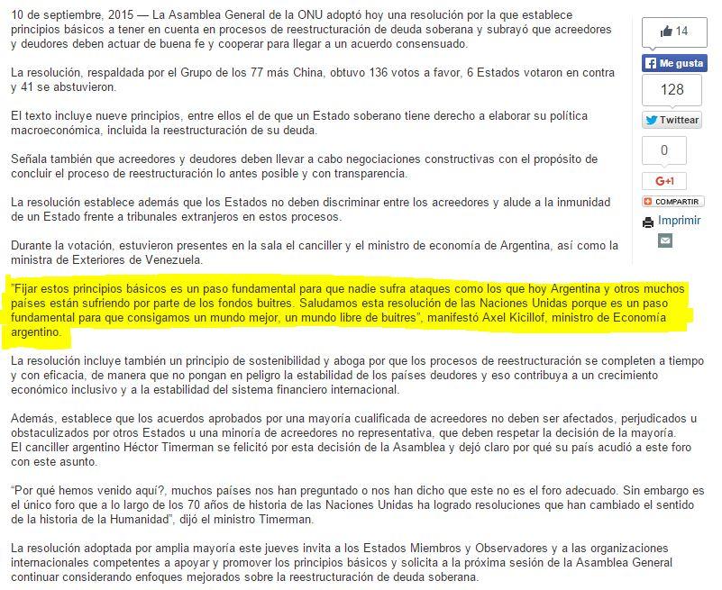 Texto de la nota en el sitio web de las Naciones Unidas en la que de da importancia al rol argentino.