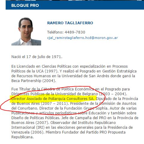 Tagliaferro admite ser Director Asociado de Poliarquía, la misma consultora que su esposa María Eugenia Vidal contrata en forma directa.