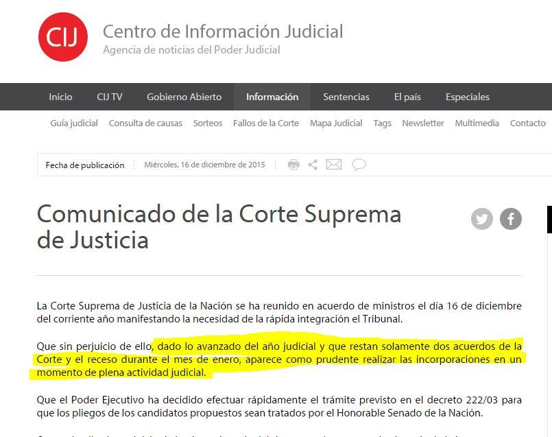 Comunicado de la Corte Suprema postergando momentáneamente la jura de los jueces ilegales.