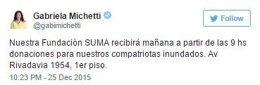 Twitter de Michetti pidiendo que lleven donaciones a su Fundaciòn en lugar de administrar desde el Estado como corresponde a su rol de Vicepresidenta.