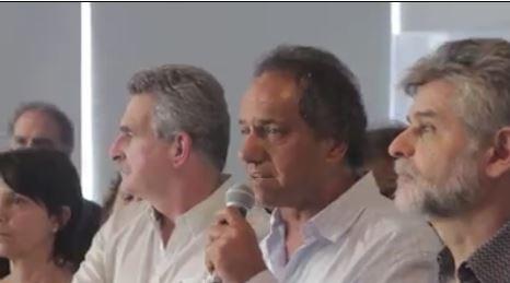 Agustín Rossi, Daniel Scioli y Daniel Filmus en el encuentro de la Corriente Nacional de la Militancia.