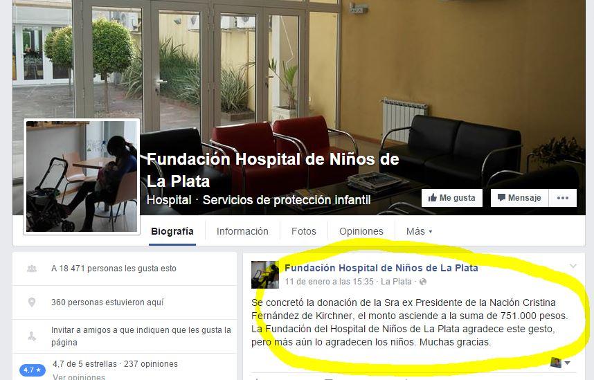 La Fundación del Hospital de Niños de La Plata confirmó la donación de Cristina Fernández.