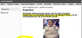 PRESA POLÍTICA – Régimen | Acción internacional para la liberación inmediata de Milagro Sala.
