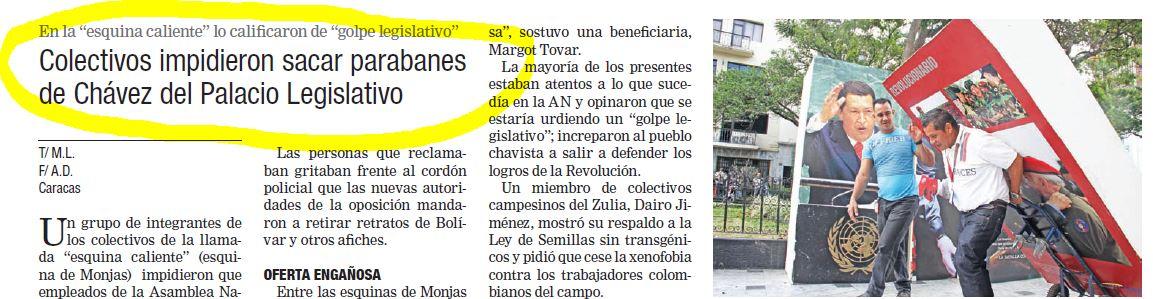 El prestigioso diario Correo del Orinoco mostró como el pueblo evitó el atropello a la Patria.