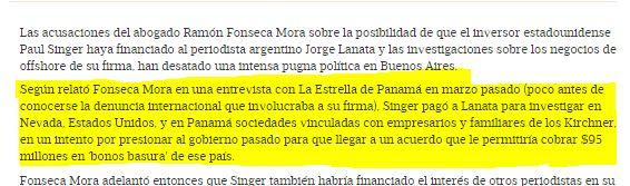 El abogado panameño denuncia que Singer le pagó a Lanata para manchar al gobierno peronista de Cristina Fernández.