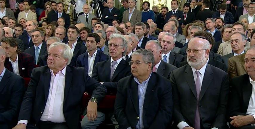 Empresarios amigos de Macri en la Rosada. Elstain en primera fila. FOTO: CASA ROSADA