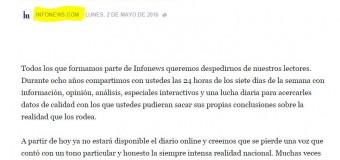MEDIOS – Régimen | INFONEWS. La crisis y la impunidad empresaria cierran otro medio de comunicación.