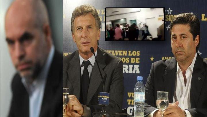 Horacio Rodríguez Larreta, Mauricio Macri y Daniel Angelici. Una patota del PRO hirió de gravedad a vecinos.
