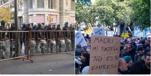 El pueblo fue alejado 300 metros de Macri para que no lo molesten. FOTO: DANIEL CATALANO.