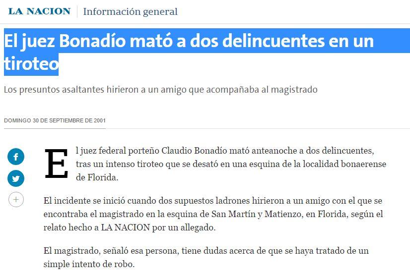 El diario oficialista La Nación cuando cubrió el extraño episodio del Juez macrista Claudio Bonadío.