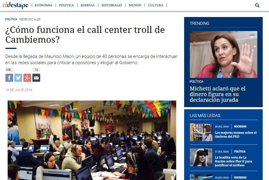 El Destape Web de Roberto Navarro dio a conocer como trabaja el Gobierno para atacar a quienes lo cuestionan. FOTO: EL DESTAPE WEB.