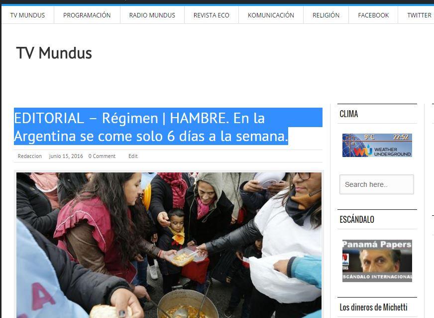 El tema del hambre ya fue tratado en un Editorial de TV Mundus.