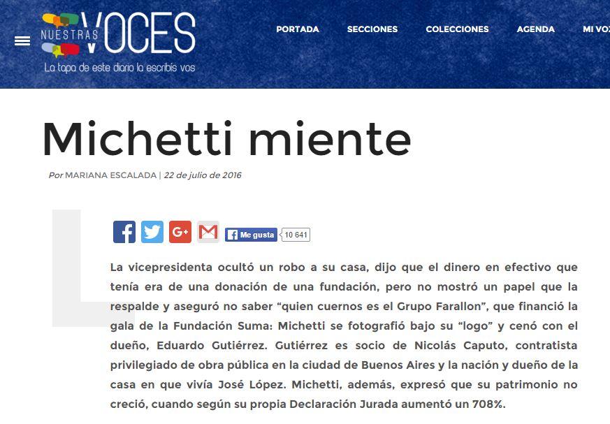 El sitio Nuestra Voces que dirige Gabriela Cerutti desnuda el entramado confuso de los dineros de Michetti.