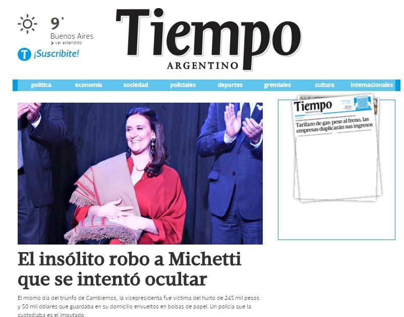 El diario Tiempo Argentino dio a conocer la primicia de un extraño robo en la casa de Marta Michetti.