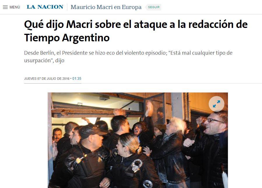 El diario oficialista publicó el apoyo de Macri a los agresores.