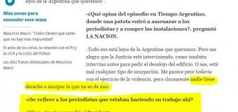 VIOLENCIA POLÍTICA- Régimen | Macri justificó la agresión al diario Tiempo Argentino y a Radio América.