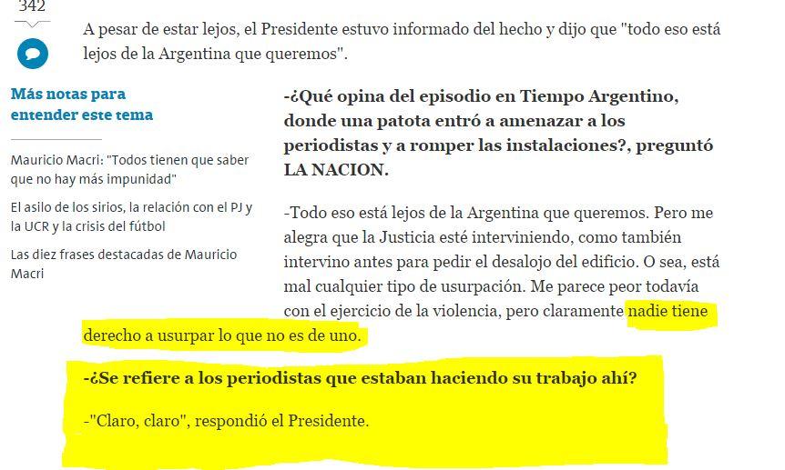 El Presidente Macri justificó a los agresores contra el diario Tiempo.
