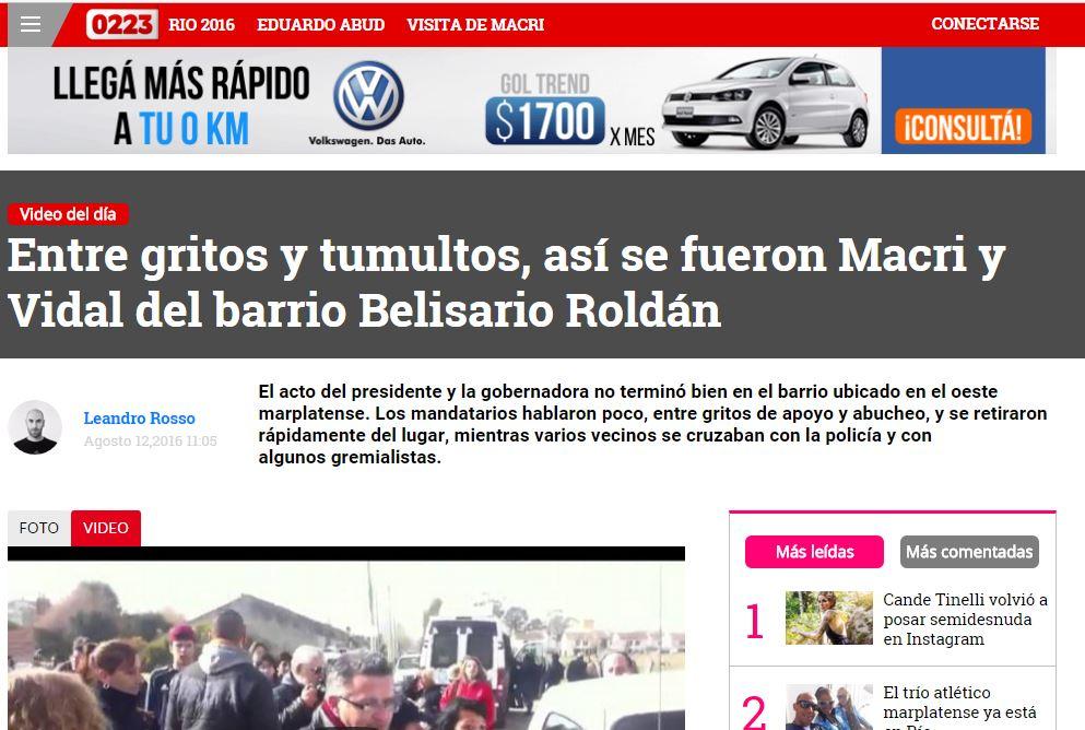 El excelente sitio de noticias 223 de Mar del Plata mostró la dureza de la represión contra el pueblo cuando manifestó su repudio a Macri y Vidal. FOTO: 223