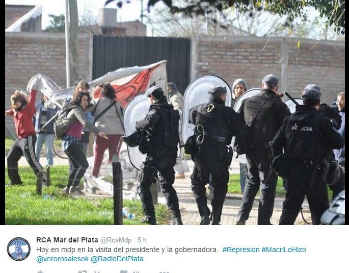 Resistiendo con Aguante registró la represión de la bonerense de Mar del Plata contra los vecinos. FOTO: RCA