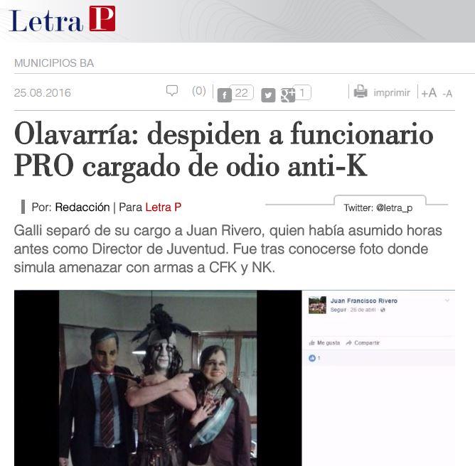 El sitio web colega Letra P dio a conocer el hallazgo del funcionario PRO amenazando burlonamente a Néstor Kirchner y Cristina Fernández.
