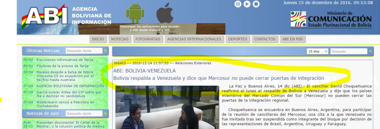 La Agencia ABI muestra el papelón argentino.