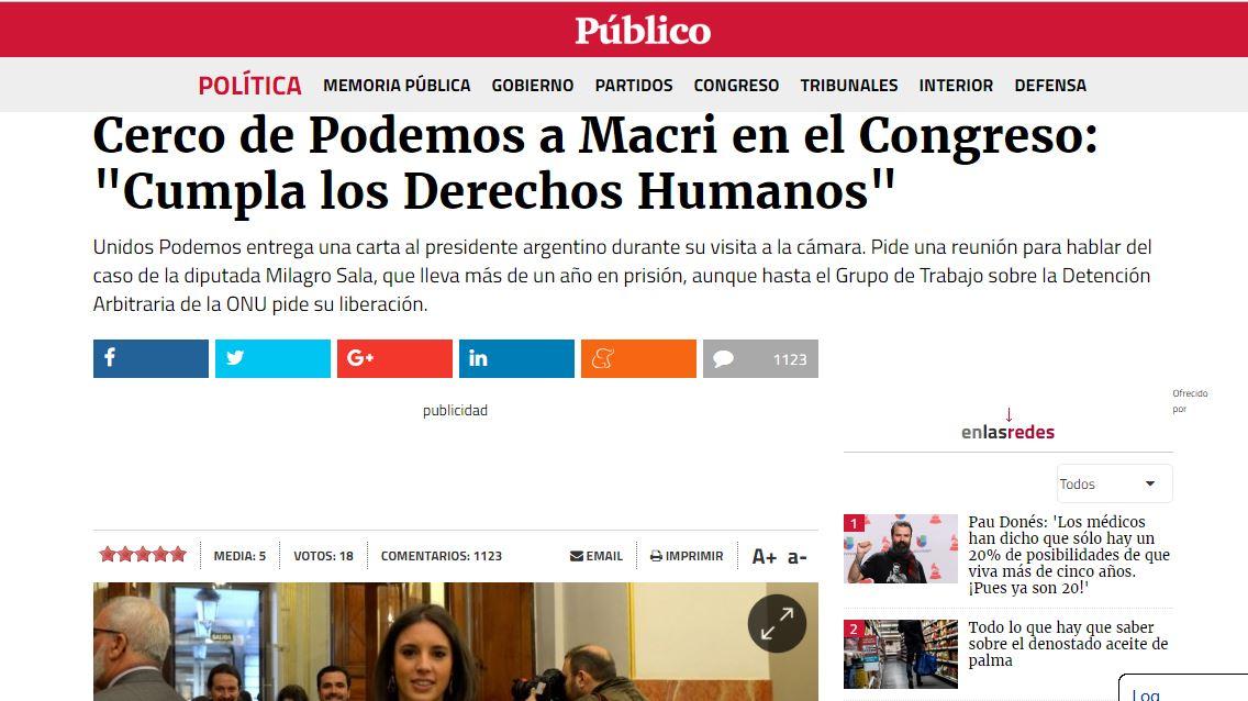 El diario on line más prestigioso de España muestra el lado oscuro de la visita de Macri e ese país.