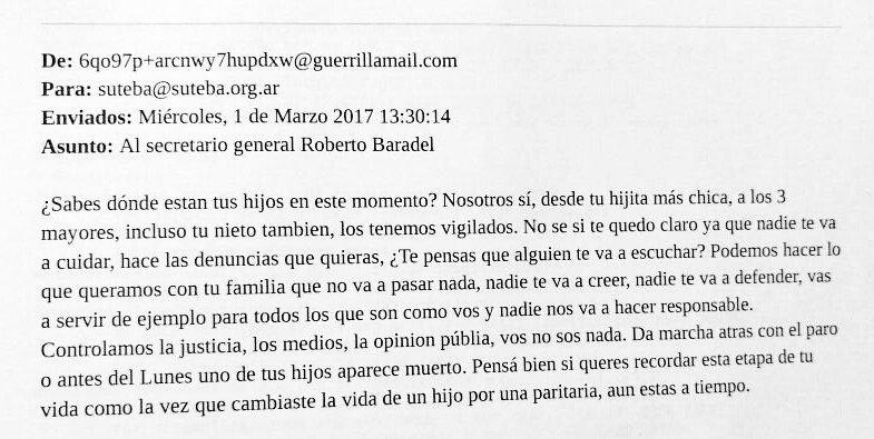 Después del agresivo discurso de Macri el Secretario General de SUTEBA recibió una nueva amenaza.