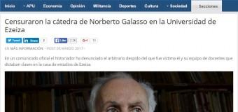 EDUCACIÓN – Régimen | La Universidad de Ezeiza censuró a Norberto Galasso.