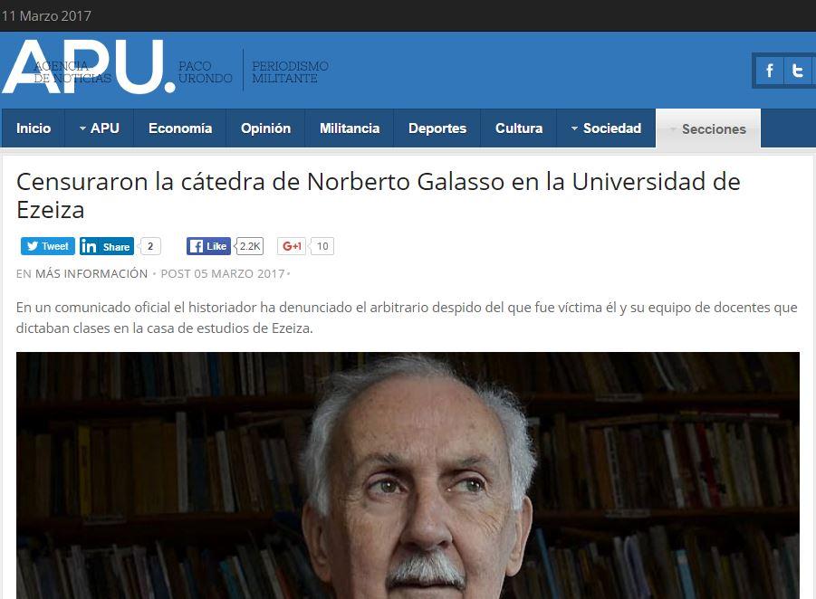 Los colegas de la Agencia Paco Urondo confirmaron que a Galasso lo desplazaron de la Universidad de Ezeiza.