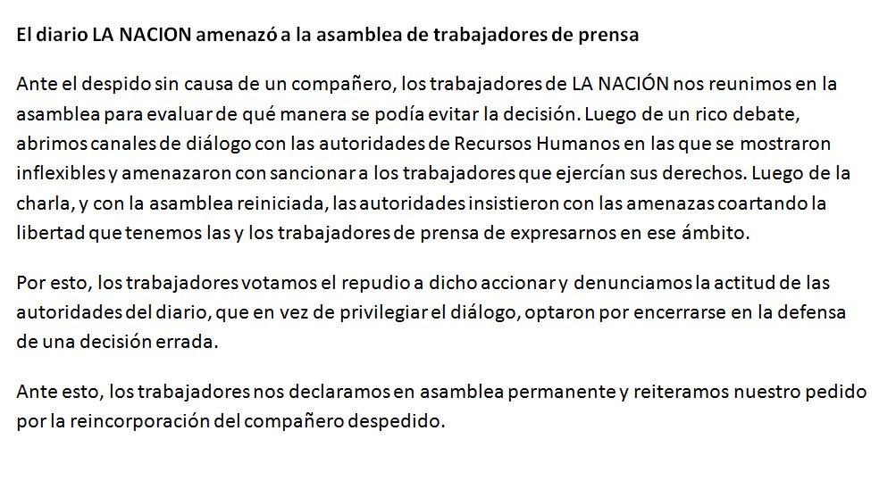 Comunicado de los trabajadores del diario La Nación.