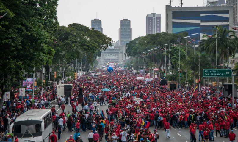 La marcha chavista fue multitudinaria.