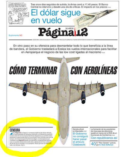 Tapa del matutino porteño Página/12.