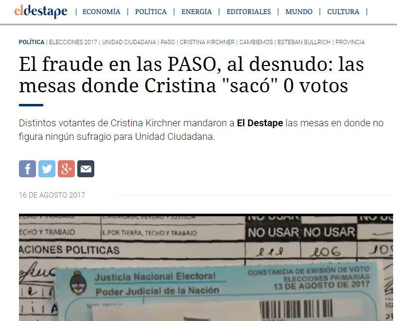 El sitio colega EL DESTAPE WEB está recibiendo miles de denuncias de robo de votos.