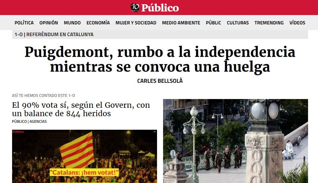 El sitio Público, el más prestigioso de la península hizo una excelente cobertura en un día histórico para la naciente república catalana.