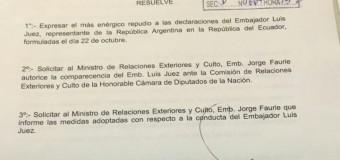 REGIÓN – Ecuador | Diputados peronistas repudian a Embajador Luis Juez que ofendió a los ecuatorianos.
